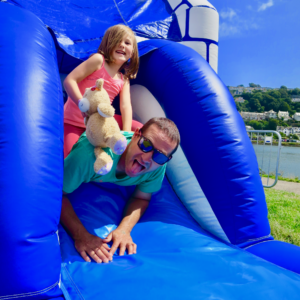 Fun times on our bouncy castles in Looe.