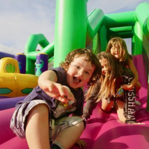 Good friends at Body Bounce bouncy castle in Newquay.